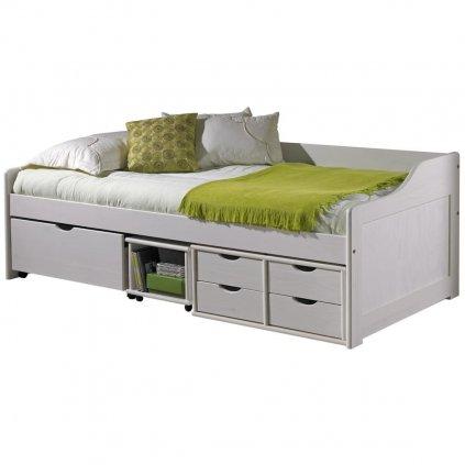 Bílá postel s úložným prostorem Mega - masiv borovice