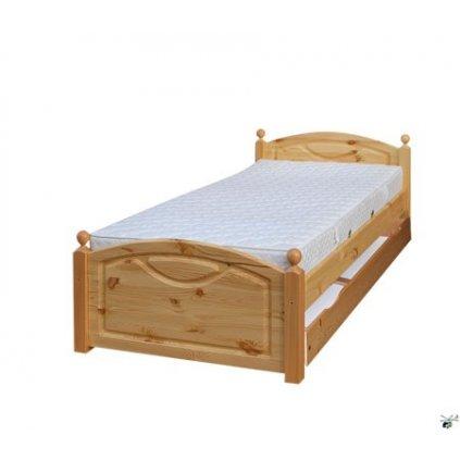 Postel 118 - masiv borovice 90x200 (Laťkový rošt Laťkový rošt / 90x200 cm - 14 lamel, Moření postele Moření postele / borovice)