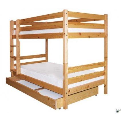 Patrová postel 127 (Laťkový rošt Laťkový rošt / 90x200 cm 2 ks - 14 lamel, Moření postele Moření postele / borovice)