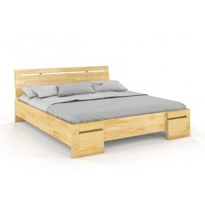 Zvýšená postel z masivu Salerno Maxi 140x200 (Laťkový rošt Laťkový rošt / 70x200 cm 2 ks - 14 lamel ZDARMA, Moření vis. Moření vis. / Bílá)