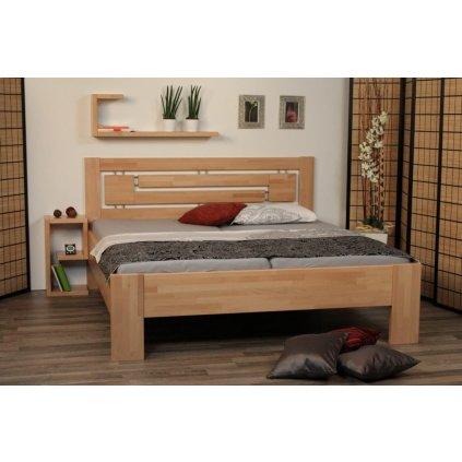 Buková zvýšená manželská postel Heidi Supra