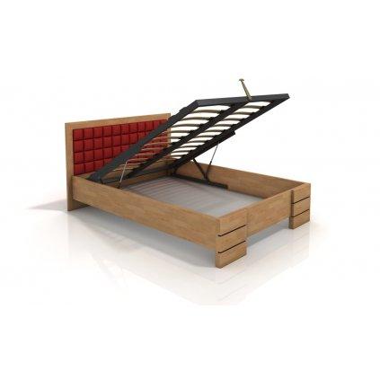 Buková zvýšená postel s úložným prostorem z masivu Gotland 180x200 - high (Moření vis. buk Moření vis. buk / Bílá, Čalounění - Vis. Čalounění - Vis. / 2301)