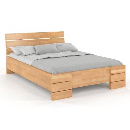 Buková zvýšená postel z masivu Sandemo 180x220 - high long (Laťkový rošt Laťkový rošt / 90x220 cm - 15 lamel, Moření vis. buk Moření vis. buk / Bílá)
