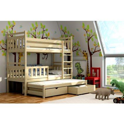Patrová postel pro tři Pinokio