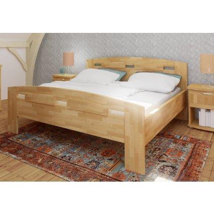 Manželská buková postel Megan Supra - 180x200cm (Rozměr 180x200, Moření HP Antracit)