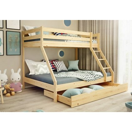 Patrová postel pro 3 Mike - masiv borovice