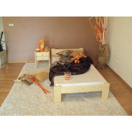 Postel Mikuš 1 - 80x200 (Laťkový rošt Laťkový rošt / 80x200 cm 1 ks - 14 lamel, Moření postele Moření postele / Bílá barva)