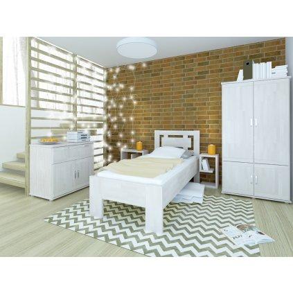 Buková zvýšená postel NAOMI SUPRA - 90x200 cm (Rozměr 90x200, Moření HP Buk přírodní)