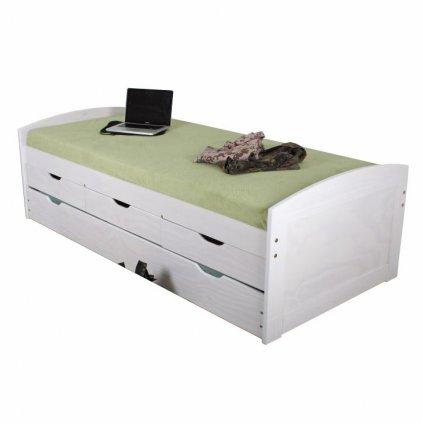 Bila postel s uloznym prostorem a pristylkou marinella