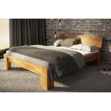 Dubová manželská postel Montana (Laťkový rošt Laťkový rošt / 90x200 cm 2 ks - 16 lamel, Rozměry - později smazat Rozměry / 180x200 cm)