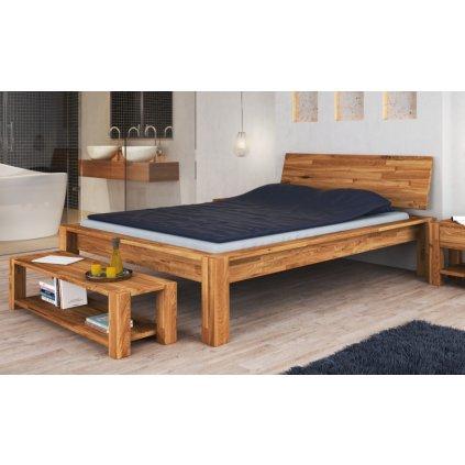 Dubová manželská postel Aruba (Laťkový rošt Laťkový rošt / 90x200 cm 2 ks - 16 lamel, Rozměry - později smazat Rozměry / 180x200 cm)