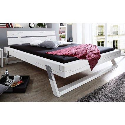 Bílá manželská postel Kasjopea - masiv borovice (Laťkový rošt Laťkový rošt / 90x200 cm 2 ks - 16 lamel, Rozměry - později smazat Rozměry / 180x200 cm)