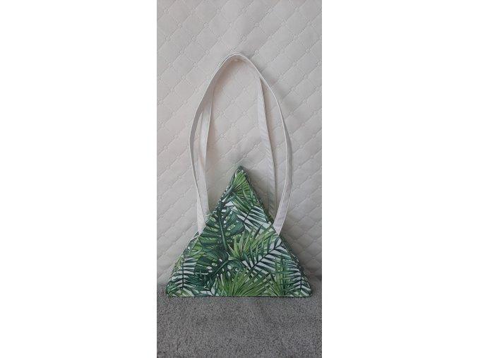 Trianglová dizajnová kabelka - Tropické lístie