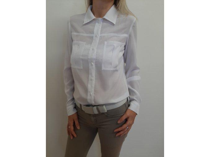 Dámska košeľa s vreckami biela lososová