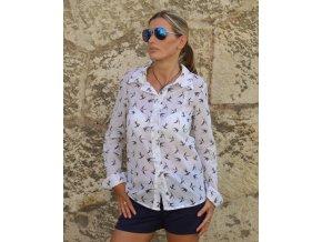 Dámska bavlnená  košeľa  s motívom lastovičky Swallow