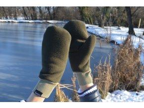 Dámske zimné rukavice palčiaky zelenej farby