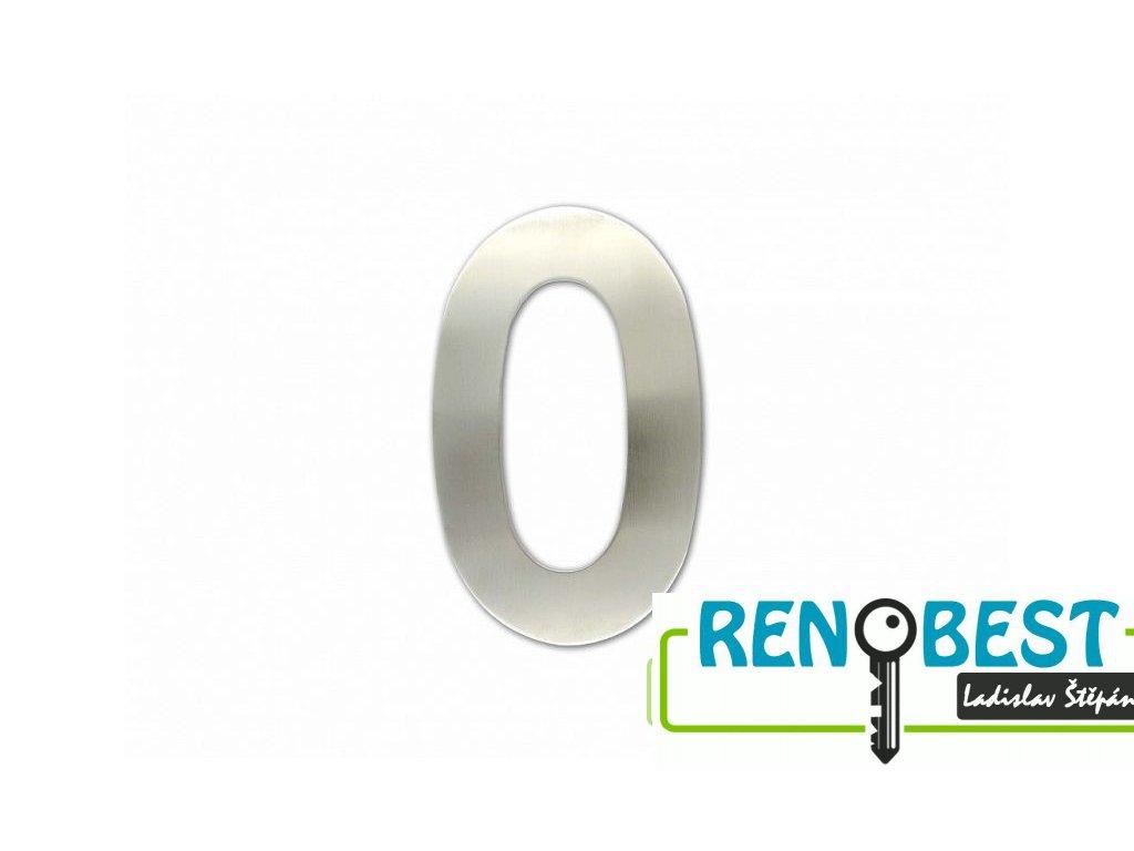 """Číslice """"0"""" fasádní 100mm samolepící NEREZ"""