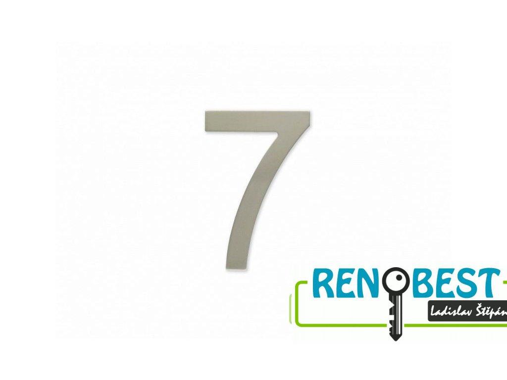 """Číslice """"7"""" fasádní 100mm samolepící NEREZ"""