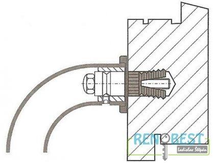Spojovací sada pro madlo dveřní do dřeva jednostranná