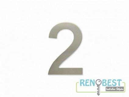 """Číslice """"2"""" fasádní 100mm samolepící NEREZ"""