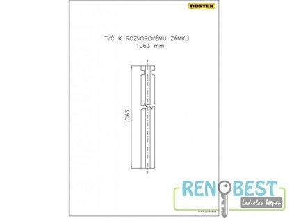 Tyč rozvorová 1063 mm k zámku ROSTEX 701 a 702