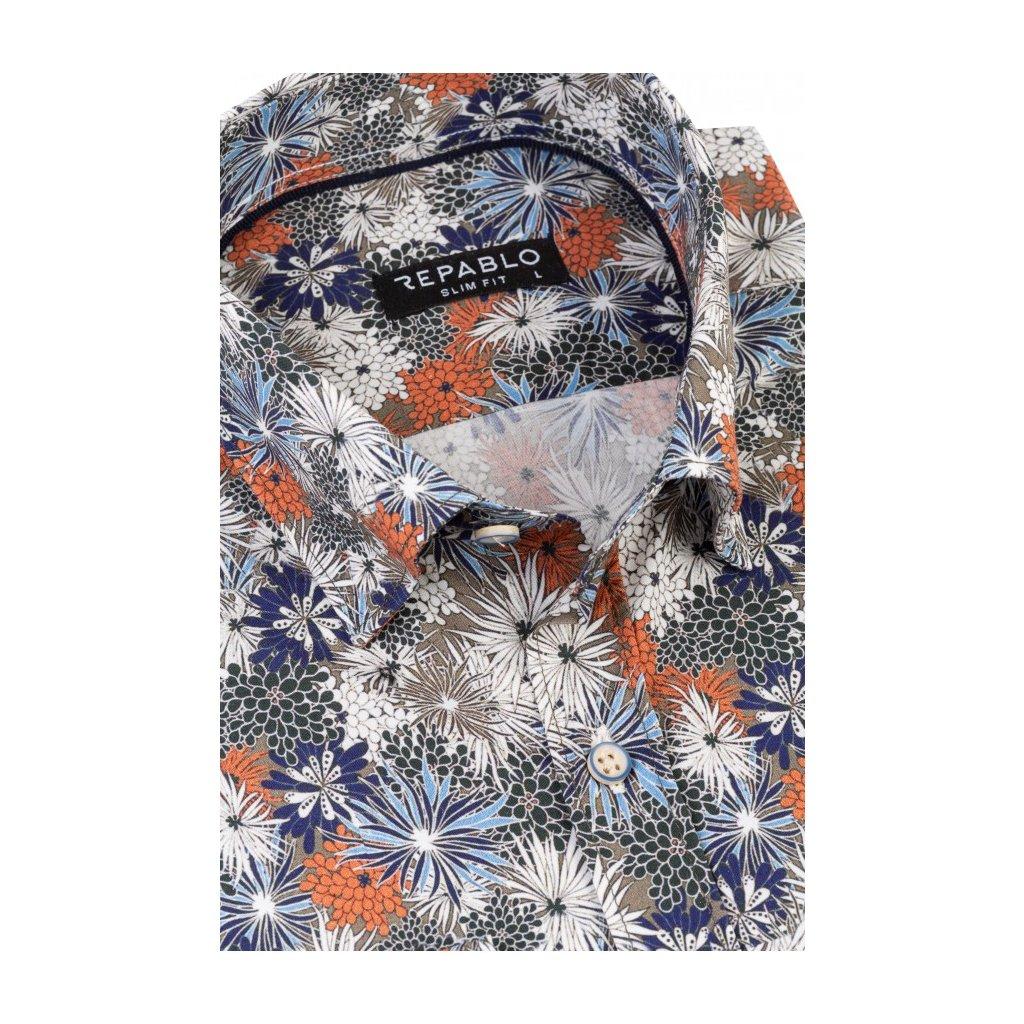 koszula meska gerard khaki w kwiaty