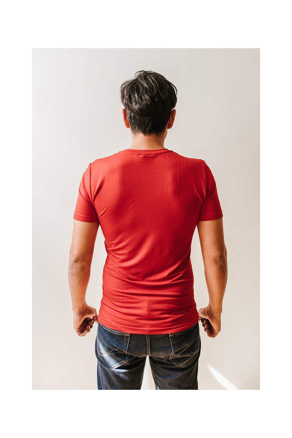 Bambusové tričko Adam červené s krátkým rukávem