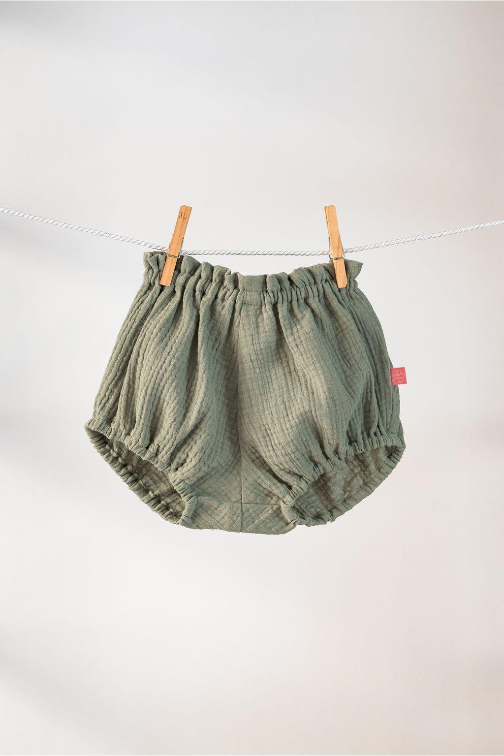 reparada muselinove kratasky detske khaki zelene