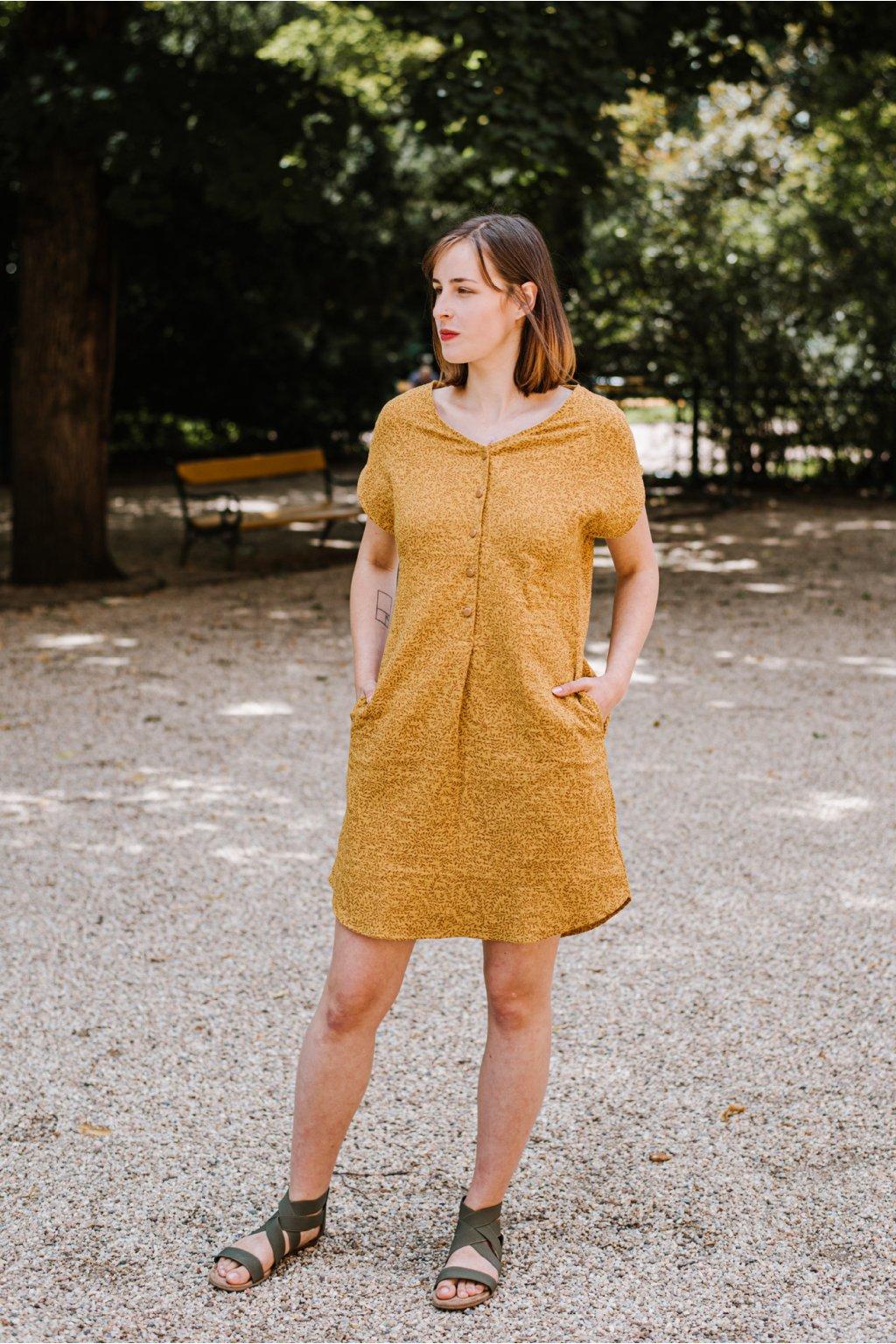 Šaty Greta z mušelínu Větvičky hořčicové