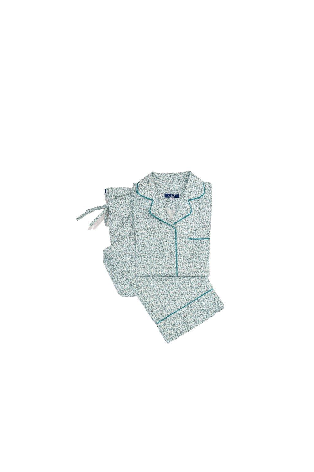 Na kutě klasické pyžamo bavlnene zelene listky1