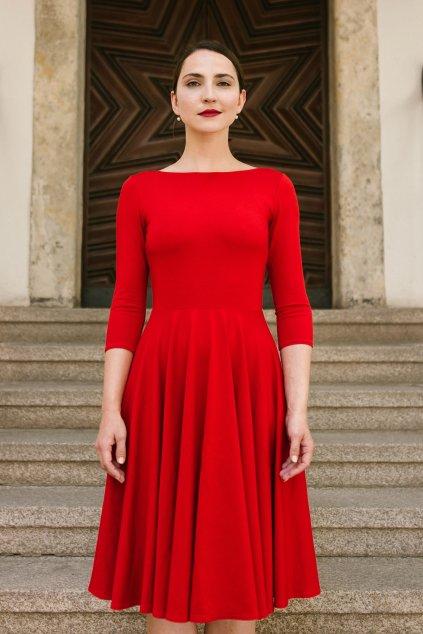 Šaty Osudová Amabile s 3/4 rukávem, vyšší gramáž, červená