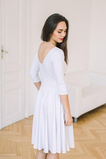 Šaty Osudová Dorothea s 3/4 rukávem, vyšší gramáž, bílá