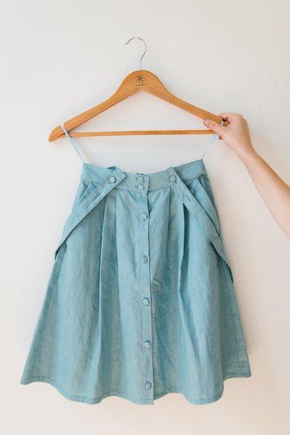 Reparada sukne zora svetle modry len1