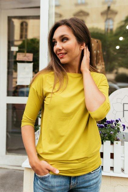 Balonové tričko Zina s 3/4 rukávem zlatavé ve vyšší gramáži