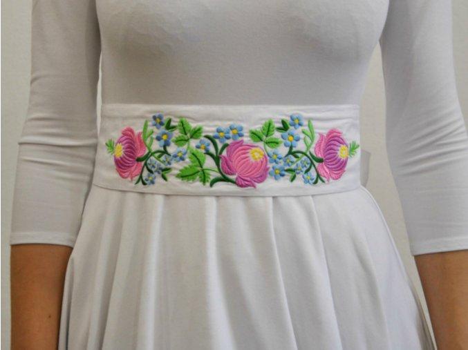 bílá pásek Růže a pomněky růžové 2