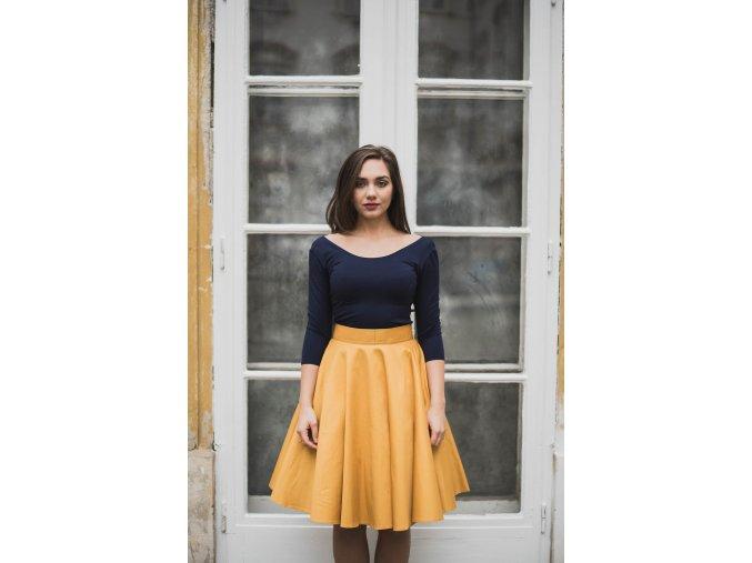 Hořčicová kolová sukně