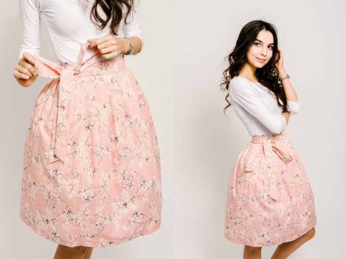 třešňové květy růžové zavinovací sukně reparada