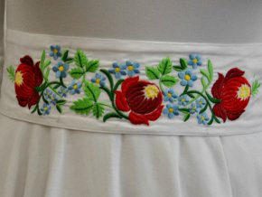 bílá pásek Růže a pomněky červené