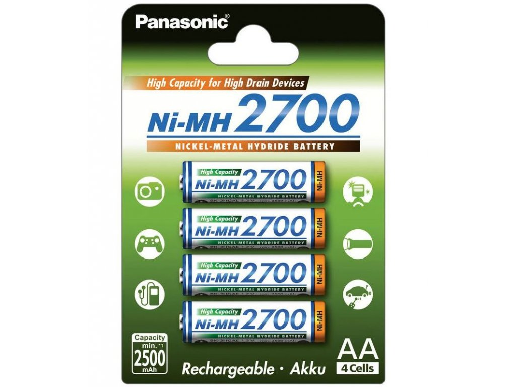Baterie Panasonic 3HGAE nabíjecí, 2700mAh, Ni-Mh, AA, (Blistr 4ks)