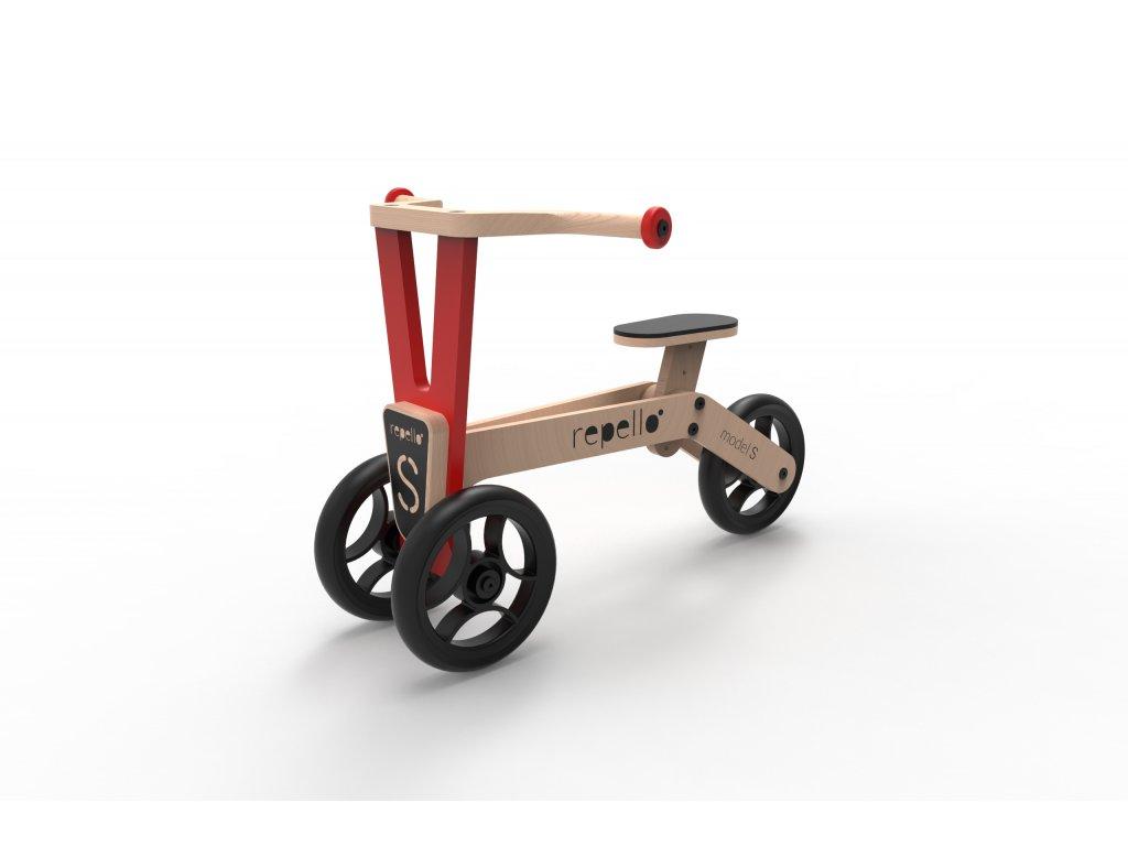 dřevěné odrážedlo tříkolka repello červená (1)