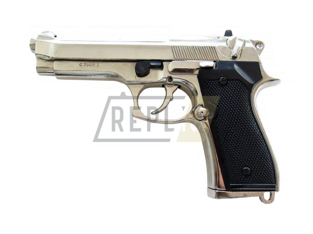 Pistole Beretta 92 F (niklová)