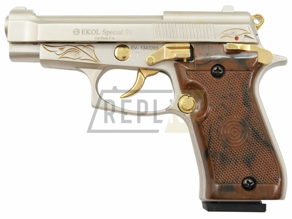 Plynová pistole Ekol Special 99 satén nilk gold s rytinou cal.9mm