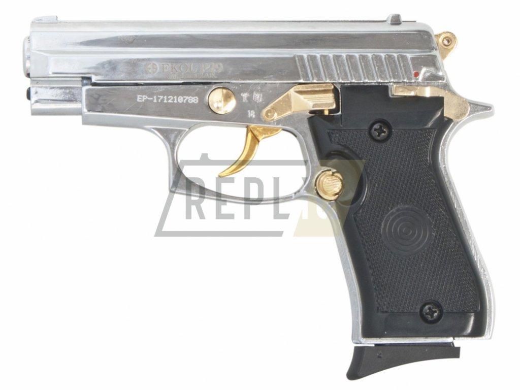 Plynová pistole Ekol P29 chrom-gold s rytinou cal.9mm
