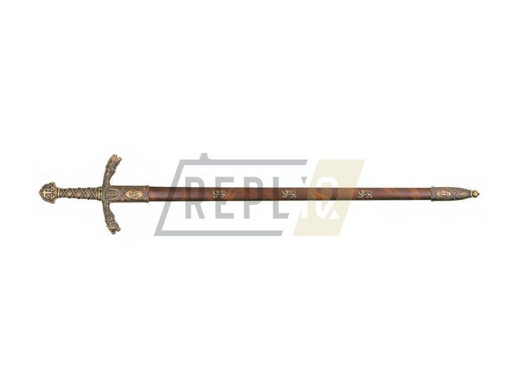 Meč Richarda Lví Srdce 12. stol. s pochvou (mosaz)