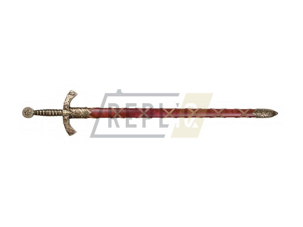 Meč templářského rytíře 12. stol. s pochvou (mosaz)
