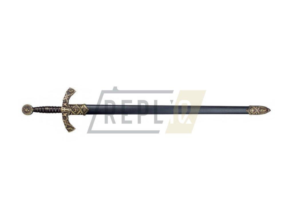 Meč templářského rytíře 12. stol. s pochvou (černý)  + Voucher na další nákup