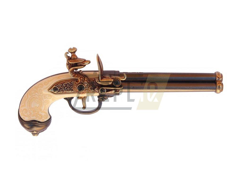 Pistole trojhlavňová - Italie 1680 mosaz