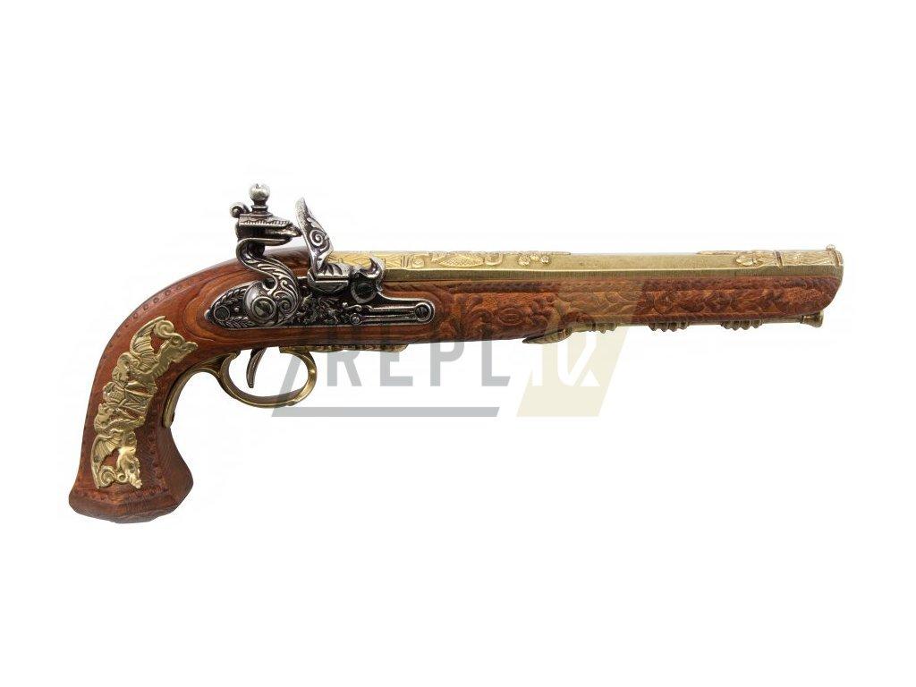 Pistole křesadlová - mistr Versailles Boutet 1810 - mosaz