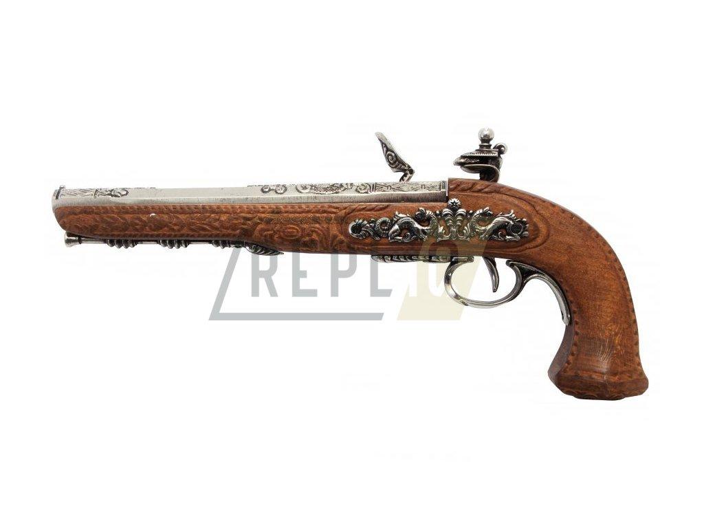 Pistole křesadlová - mistr Versailles Boutet 1810 - nikl  + Voucher na další nákup
