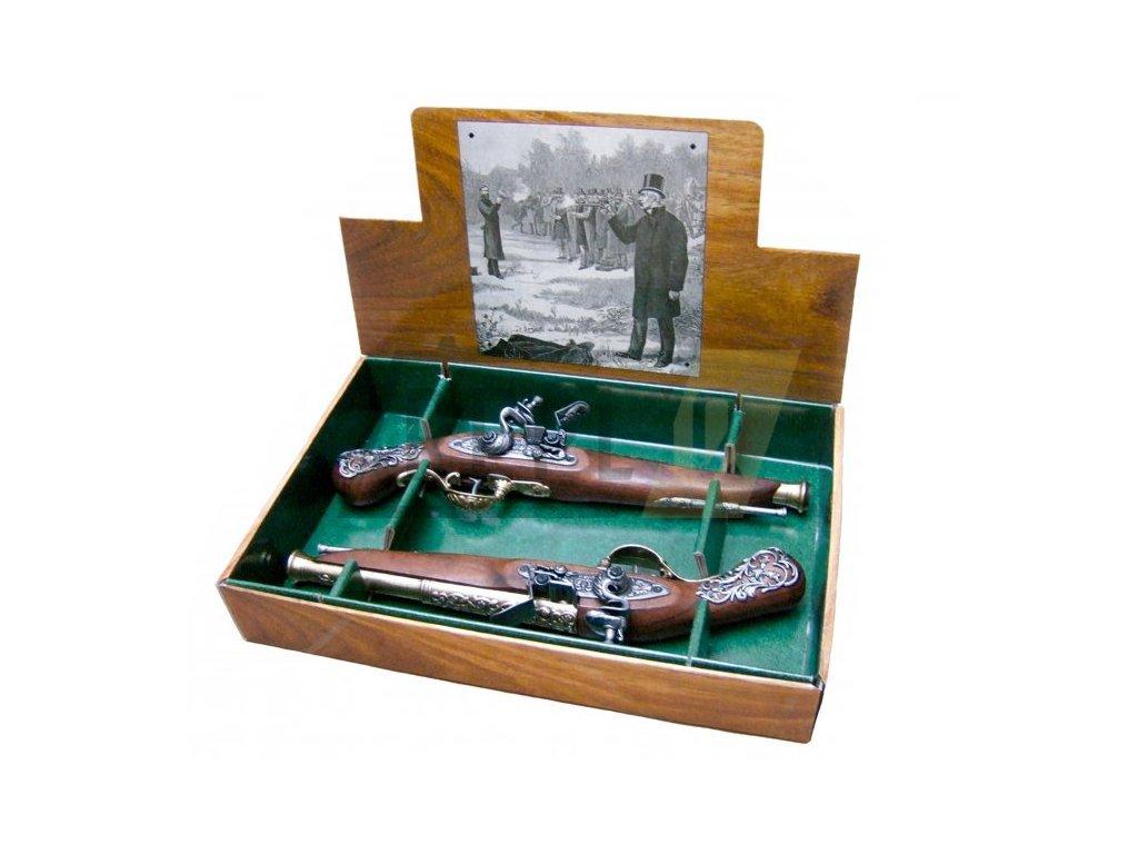 Pistole křesadlové soubojové anglické 18.století